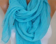 Turquoise Cotton Scarf Soft Shawl Spring Summer Cowl Oversized Wrap Gift Ideas For Her Women Fashion Accessories Mother Day Gift Scarves