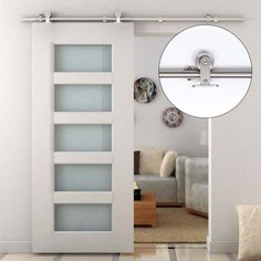 Painted doors with glass 3 panel or glass only at top if - Instalacion de puerta corredera ...
