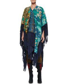 Burberry+Prorsum+Patchwork+Blanket+Fringe+Poncho+Navy+ +Coat,+Jacket,+Cloak+and+Clothing