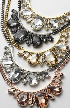 Crystal bib necklaces. So gorgeous!