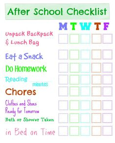 After School Checklist Free printable After School Checklist and directions for making it work with dry erase.Free printable After School Checklist and directions for making it work with dry erase. After School Checklist, After School Routine, School Routines, Kids Schedule, Kids Checklist, Weekly Schedule, Chore Chart Kids, Chore Charts, Back To School Organization