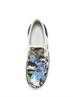 SNEAKERS SLIP ON IN PELLE E VERNICE STAMPA TATTOO