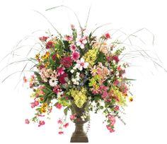 Natural Decorations, Inc. - Hydrangea Magnolia Daisy Spring | Urn Bronze