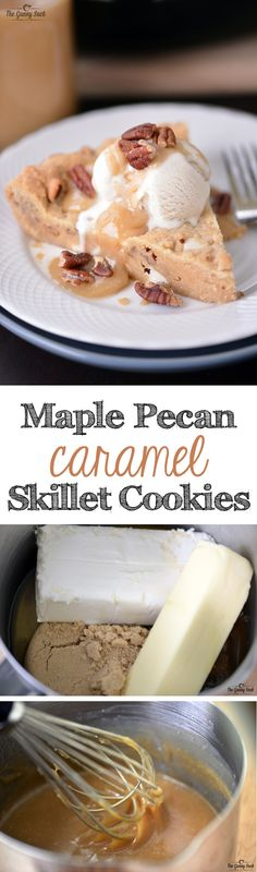 Maple Pecan Caramel Skillet Cookies recipe with white chocolate pecan blondies topped with vanilla ice cream, warm maple caramel sauce and pecans.
