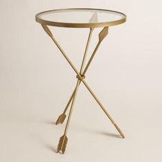 One of my favorite discoveries at WorldMarket.com: Gold Metal and Glass Arley Accent Table