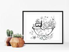 Home decor - bathroom decor - nursery decor - print art - wall art - drawing - art print - print - bubble bath illustration by madeinhappy on Etsy Mosaic Wall, Mosaic Tiles, Room Colors, Wall Colors, Bath Tumblr, Wood Tub, Master Shower, Room Tiles, Design Seeds