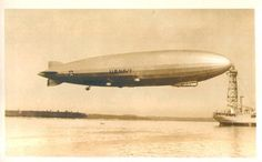 U.S.S. Los Angeles airship, at sea masting, 1930's