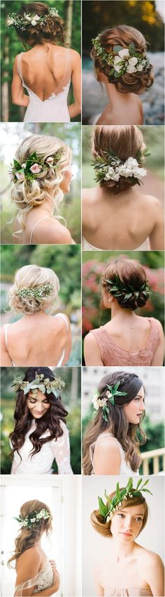 Greenery wedding hairstyles and wedding updos with green flowers / #wedding #weddingideas #weddinginspiration #deerpearlflowers