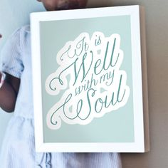 It is well with my soul art print.  Blue, white, teal art.  One of my favorite hymns!  Printable, too!