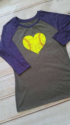 Softball love: softball shirt, distressed softball in neon yellow, softball mom, softball player, softball life, 3/4 raglan sleeve