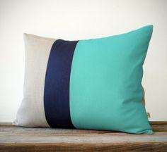 16x20 Mint Colorblock Pillow - Navy and Natural Linen Stripes by JillianReneDecor Modern Home Decor Color-block Aqua Turquoise
