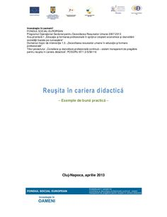 Reuşita în cariera didactică −−−− Exemple de bună practică −−−− Cluj-Napoca…