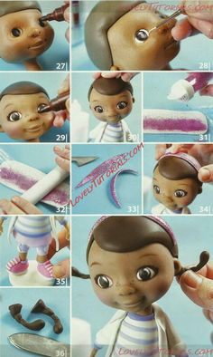 "McStuffins how to part 4 МК лепка ""Доктор Плюшева"" -Doc McStuffins cake topper tutorial - Мастер-классы по украшению тортов Cake Decorating Tutorials (How To's) Tortas Paso a Paso Doc Mcstuffins Cake Topper, Doc Mcstuffins Birthday Party, Fondant Toppers, Fondant Cakes, Cupcake Cakes, Cake Topper Tutorial, Fondant Tutorial, Fondant Figures, Cake Decorating Techniques"