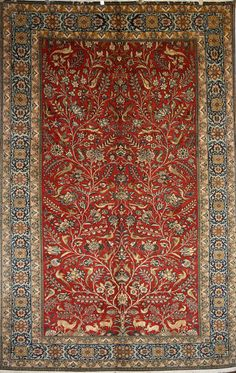 Wool and silk Qom rug in tree of life pattern - £8995