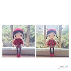 Hello Miss Ladybug ~ Pattern by @amiqian Many thanks #amigurumi #craft #crochet #crochetdoll