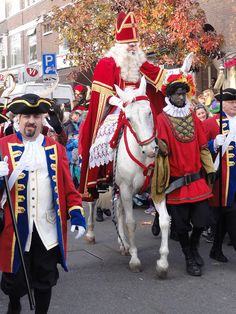 """Sinterklaas "" ( Saint Nicholas ) ,  the original"" Santa Claus,visiting The Hague.It always happens on Dec 5 of each year,when he officially ""opens"" de X-mas season w/ the key of the city.It´s beautiful!!!A real event for the Dutchmen,specially the kids,of course !"