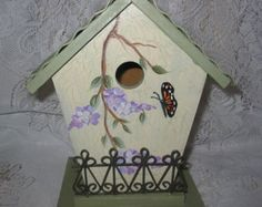 Hand Painted Birdhouse with Butterfly and Wisteria
