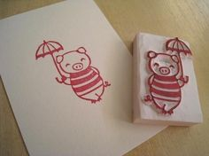 Mary Poppin Boo Handcarved Rubber Stamp of Cute by lovesprouts, $14.00