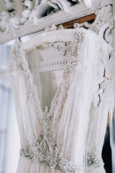 romantic vintage beaded wedding gown