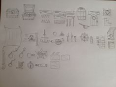 Pirate ship tiles and items (hand drawn)