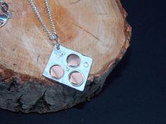 Unique solid silver and copper square pendant  £32.00