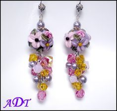 Enchanted GardensFloral Lampwork Earrings in by ariesdesignstoo, $40.00