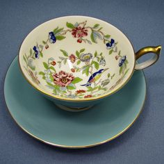 Beautiful AYNSLEY Tea Cup and Saucer Light Blue by Thinkilikeit