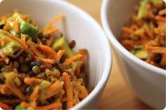 Salade de carottes râpées, lentilles et avocats