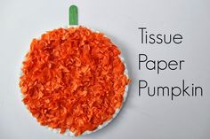 Tissue Paper Pumpkins, a great craft for your toddler that helps them develop fine motor skills plus it is a cute Halloween decoration for you home! @Elmer Marquez's #elmersacademy