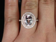 Original Cara 14kt Rose Gold Thin Oval Morganite Double Halo Engagement Ring (Other metals and stone options available)