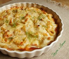 Fennel Gratin with Prosciutto Raw Food Recipes, Vegetable Recipes, Italian Recipes, Cooking Recipes, I Love Food, Good Food, Prosciutto, Gnocchi, Veggies