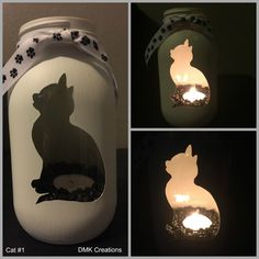 Cat Painted Mason Jar Tea Light Candle Holder, Painted mason jar, Kitten, cat, m… Mason Jar Candle Holders, Mason Jar Candles, Mason Jar Lighting, Chalk Paint Mason Jars, Painted Mason Jars, Mason Jar Projects, Mason Jar Crafts, Diy Projects, Project Ideas