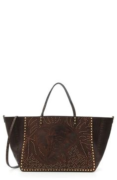 Valentino 'Rockstud - Elephant' Double Handle Vachetta Leather Tote
