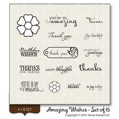 Amazing Wishes..........thank you sentiment stamps