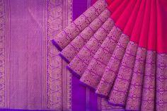Handwoven Kanjivaram Silk Sari with Kuthirai & Mayil Motif 1030082 - Saris / All Saris - Parisera Indian Bridal Sarees, Wedding Silk Saree, Indian Silk Sarees, Soft Silk Sarees, Ethnic Sarees, Banaras Sarees, Kanchipuram Saree, Purple Saree, Burgundy Maxi Dress