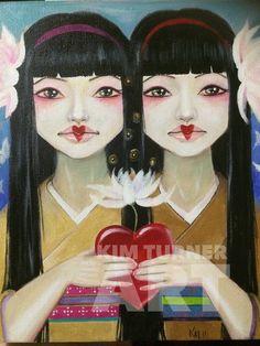 Original Art Original Painting Siamese Twin by KimTurnerArt