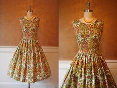 1950s Dress Vintage 50s Dress French Botanical by jumblelaya, $128.00
