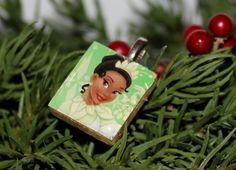 Holiday Disney Princess Characters image on scrabble tile pendant