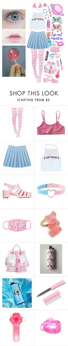 """call me cry baby"" by satanic-lullaby ❤ liked on Polyvore featuring Maybelline, JuJu, Kreepsville 666 and Handle"