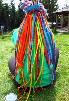 Dreads by Dreadlock Madness Wool Dreads, Dreadlocks, Hair Dye Colors, Cool Hair Color, Short Hairstyles For Women, Messy Hairstyles, Burning Man Fashion, Rainbow Hair, Rainbow Braids