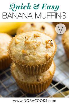 Quick Easy Vegan Banana Muffins made in just 1 bowl! SO fluffy and moist. Vegan Brunch Recipes, Best Vegan Desserts, Vegan Baking Recipes, Delicious Vegan Recipes, Vegan Sweets, Vegan Snacks, Delicious Desserts, Snack Recipes, Classic Desserts