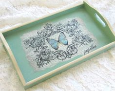 pastel ocasion by Elena Doniy on Etsy Decoupage Box, Decoupage Vintage, Shabby Chic Tray, Painted Trays, Cottage Chic, Diy Crafts To Sell, Chalk Paint, Stencils, Decorative Boxes