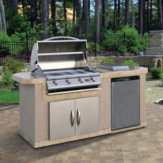 Shop for Cal Flame Stucco Stainless Steel 7 Foot 4 Burner Gas Grill Island. Get free delivery On EVERYTHING* Overstock - Your Online Garden & Patio Store! Stainless Steel Grill, Stainless Steel Refrigerator, Backyard Kitchen, Outdoor Kitchen Design, Outdoor Kitchens, Bbq Kitchen, Kitchen Cart, 4 Burner Bbq, Cal Flame