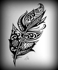 Tribal Henna Feather Art Drawing Custom Ink Drawing Black & White Commissioned Original Artwork Intricate Detailed Drawings on Etsy Tribal Henna, Henna Feather, Arte Tribal, Feather Art, Henna Art, Tribal Tattoos, Tribal Feather, Tatoos, Paisley Tattoos