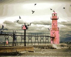 This is at the end of the Algoma northern pier and marks the… Lighthouse Pictures, Beacon Of Light, Light Of The World, Lake Michigan, Wisconsin Vacation, Water Tower, Great Lakes, Photos Du, Strand