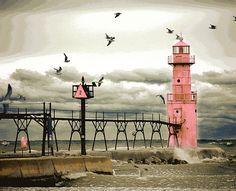 Algoma Pierhead Lighthouse, Wisconsin, Lake Michigan, Great Lakes