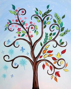 Tree in 4 Seasons Four Seasons Painting, Four Seasons Art, Canvas Wall Decor, Canvas Art, Canvas Painting Designs, Fall Canvas, Wall Art, Wine And Canvas, Paint And Sip