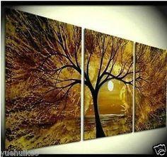 Pretty golden tree and sun painting idea. Gran Pintura Al Óleo Abstracta Arte Moderno Pared Sobre Lienzo (Sin marco)