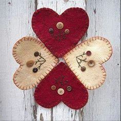 Wool Felt Central: Favorite Valentine Projects to Make Fabric Crafts, Sewing Crafts, Sewing Projects, Felt Projects, Felt Embroidery, Felt Applique, Valentine Crafts, Valentines, Felted Wool Crafts