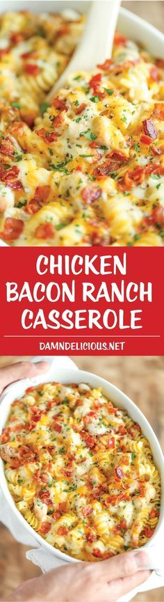 Chicken Bacon Ranch Casserole - Creamy, cheesy and comforting! Loaded with Ranch chicken, homemade alfredo sauce and bacon. Can be made ahead of time!